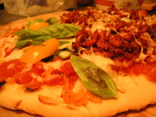 pizza, crust, bread, foods, cheese, toppings, yeast, spices, oven