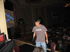 Edma walking onstage at Evo2k7