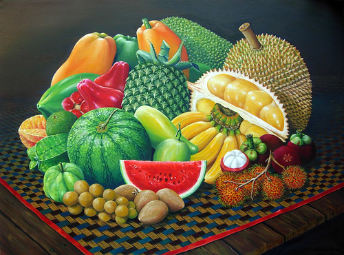 Tropical Fruits - Original Oil Painting by wizan.