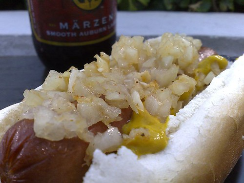 Hot Dog and Gordon Biersch Maerzen in a plastic bottle