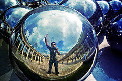 In my world (Victoriano) Tags: world travel selfportrait paris france reflection architecture ball french 350d mirror cool europe photographer earth balls wideangle fisheye sphere society victoriano palaisroyal society1 flogr