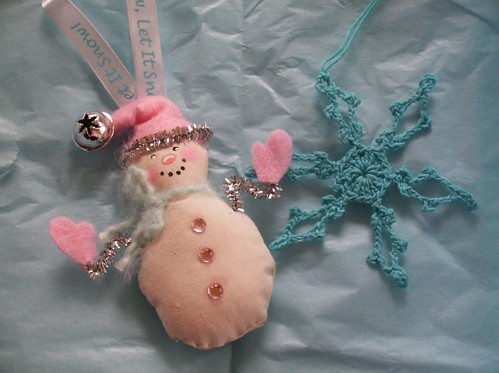 Pink Snowman and Blue Snowflake