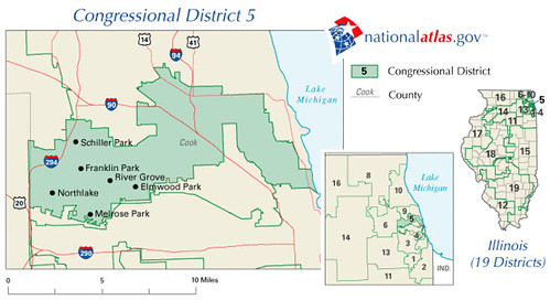 Illinois District 5 111th Congress as elected 4 November 2008