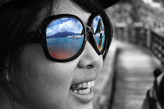 Lake in glasses (daniel.lih.photography) Tags: people bw white black color reflection up sunglasses nikon dof close bokeh taiwan 南投 台灣 黑白 日月潭 sunmoonlake nantou 近拍 太陽眼鏡 d90 反射 daniellih