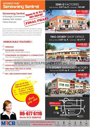 Business Park Senawang Sentral | Semi-D Factories and Shop Offices for sale
