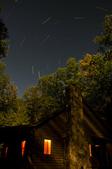 The Record (Tyler van der Hoeven) Tags: longexposure autumn trees light chimney house cold fall stone night canon stars rebel cabin space trails wv westvirginia late startrails t2i