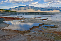 Mammoth Hot Springs (bhophotos) Tags: travel blue sky usa reflection nature water clouds landscape geotagged nikon day cloudy yellowstonenationalpark yellowstone wyoming thermal mammothhotspring d700 2470mmf28g projectweather