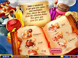 free What's Cooking gamble bonus game
