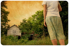 Back to the Old House (deatonstreet) Tags: trees summer sky house selfportrait texture abandoned girl kentucky explore thesmiths