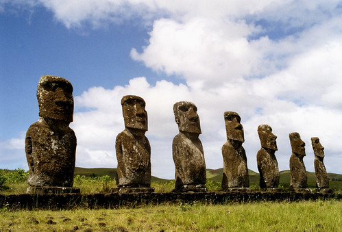 Seven Moai of Ahu Akivi by anoldent.