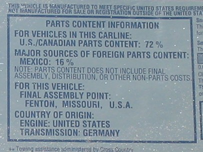 2007 Dodge Ram parts content label