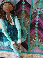 Doll Quilt Swap II and Rachel (Lemon Tree Tales) Tags: green liberty aqua purple turquoise fabric swap batik pieced dollquilt dqsii dollquiltswapii dqs2 frenchbraidquilt