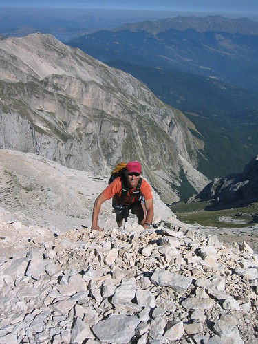 Me heading up west ridge of Corno Grande, one of the less technical parts.