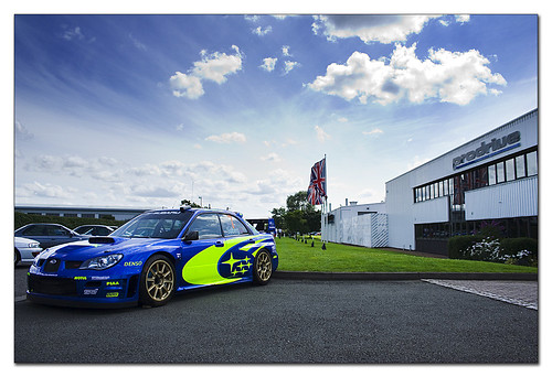 Peter Solberg WRC Subaru Impreza at home