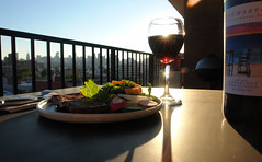 Dinner on the Terrace (Harris Graber) Tags: summer food skyline dinner zeiss wine terrace wideangle astoria gothamist sonydscr1 viewfromastoria