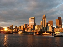 Downtown Seattle, Washington from Seattle-Bremerton Ferry, Seattle, Washington