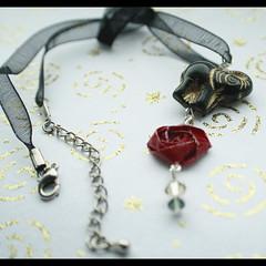 Origami Rose Necklace w/ Elephant (Harugurumi) Tags: red elephant black rose beads origami crystal etsy necklance