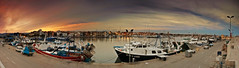 Cambrils harbour (Aitor Escauriaza) Tags: sunset sky panorama rural port boat fisherman barcos harbour pano fisher cambrils tarragona reus pescador 18mm ptgui vaixells aitorescauriaza nikon1855