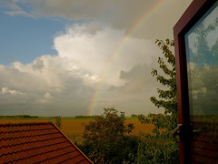 Open up the window and..... (andzwe) Tags: roof copyright holland netherlands dutch field sepia photography rainbow fotografie photos pics  nederland fotos ens noordoostpolder nederlands drente nop drenthe interestingness172 i500 panasonicdmcfz50 panasoniclumixdmcfz50 andzwe andzwe openupthewindowand