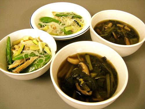 Bean Vermicelli Salad & Shiitake Greens soup