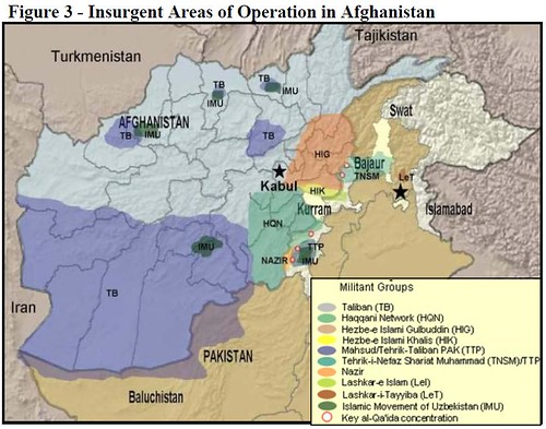 Insurgent Areas of Operation in Afghanistan