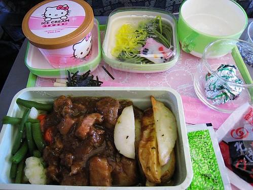 Hello Kitty obiad w samolocie