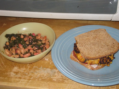 Veggie burger + beans and grees