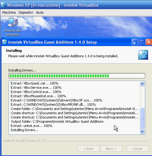VirtualBox - Guest Additions - Windows XP: avanzamento installazione