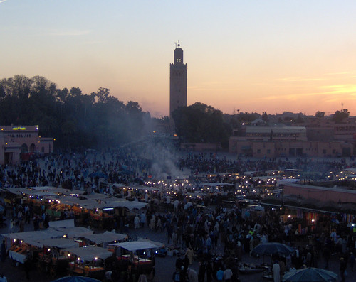 Djemma el Fna at dusk, Marrakesh