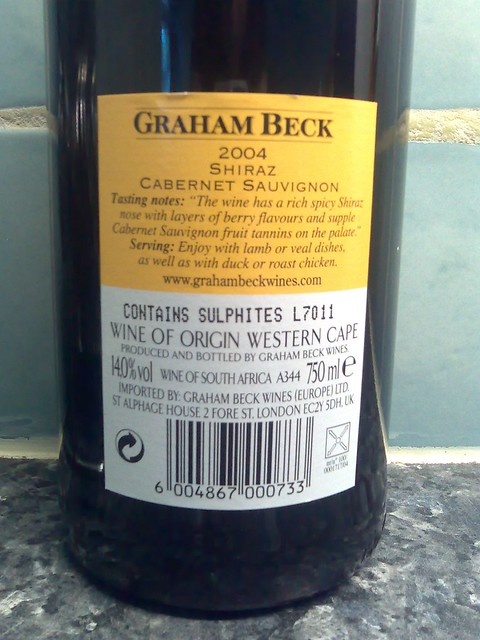 Graham Beck Shiraz Cabernet Sauvignon 2004 Back Label