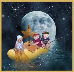 Wynken, Blynken & Nod (Cytosue) Tags: moon fish water sparkles fairytale graphicart photoshop shoe aiden fishing babies digitalart fantasy pixies magical glittery starry woodenshoe nurseryrhyme enchanting supershot frhwofavs leafsail