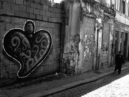 graffiti of heart filled with scrolling-swirls