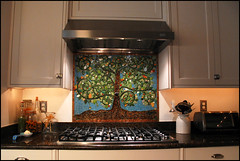 tree installed (dogfaceboy) Tags: kitchen mosaic stove commission treeoflife backsplash potfillerstillamystery