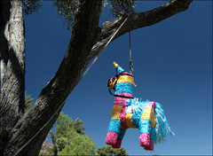 Viva Piñata (peasap) Tags: california pink blue party sky tree green leaves yellow high picnic candy sandiego rope september sweets pinata hang americanredcross