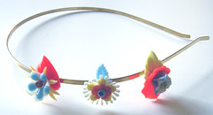 Blue, Yellow and Orange Vintage Flowers Headband