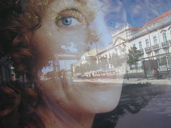a woman's ideal age (free-secret-life) Tags: road city bridge autumn trees windows woman reflection portugal face mouth hair eyes lisbon palace secretlife