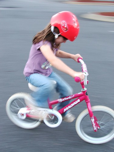 Beth riding her bike