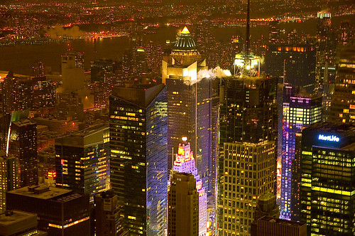 View of New York city from Empire state Building observatory