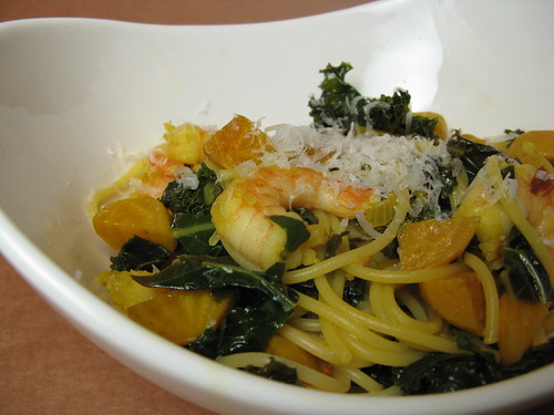 Pasta with Beets, Shrimp & Kale