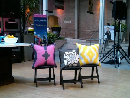 AphroChic Pillows on display at Culinarium