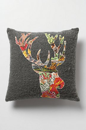 anthropologie blooming deer pillow