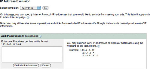 Google AdWords IP Exclusion
