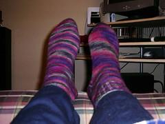 northern lights finished socks 1