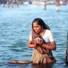 INDIA (BoazImages) Tags: life travel blue woman india water river asia pray culture holy varanasi hindu hinduism puja ganga ganges documentry aplusphoto lprivers