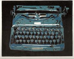 typewriter reduction linoleum print