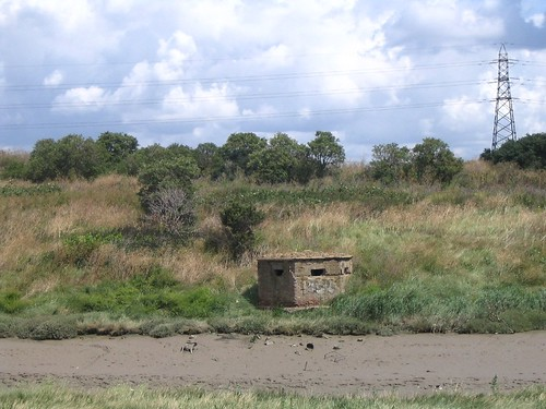 Photo:Looking back to the Downs, a WWII pill-box on the Benfleet side, facing the aggressor approaching from Canvey.