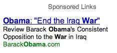 Google Ad from Obama