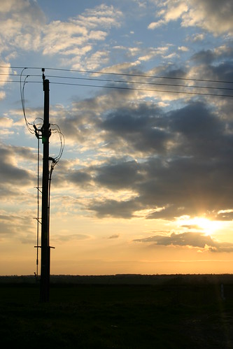 Sunset of an Electrical Pole in a Field in Suffolk