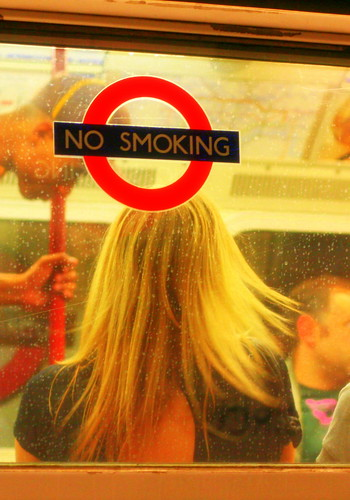 London underground: Blond girl no smoking!