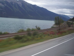 Picture is rather blurry because of the cloudy sky (jimbob_malone) Tags: britishcolumbia 2007 highway16 greyhoundbus